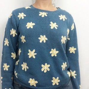 Orvis Daisy Embroidered Floral Vintage Sweater